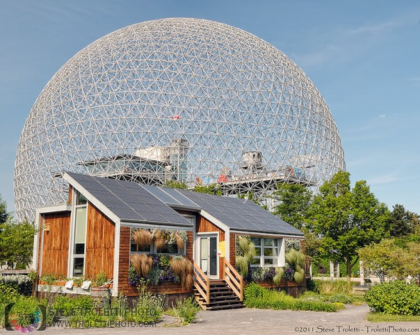 The Ecoological Solar House at parc Jean Drapeau in the shadows of the Biosphere by Steve Troletti