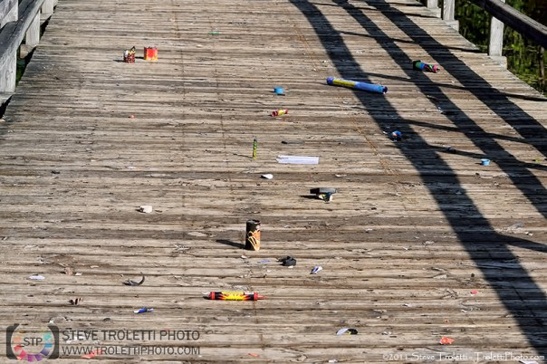Ile Bizard Passerelle Littered with Fireworks and Firecrackers after 1st Cleanup