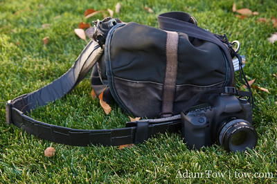 My trusty Domke F-3XB camera bag with the new 5D Mark II