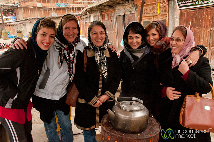 Audrey hanging with a group of Iranian women in Masouleh.