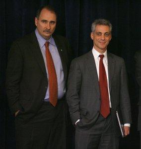 David Axelrod (L), senior advisor to President-elect Barack Obama and Rahm Emanuel, Obama's chief of staff (UPI Photo/Brian Kersey)