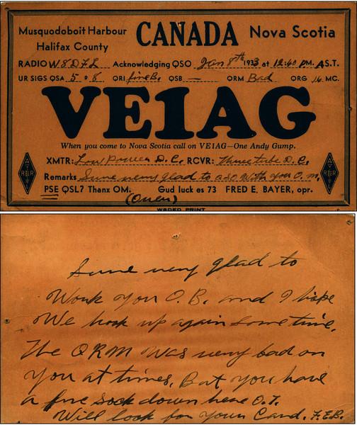 VE1AG QSL Card