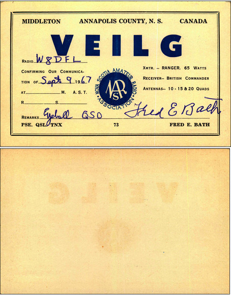 VE1LG QSL Card