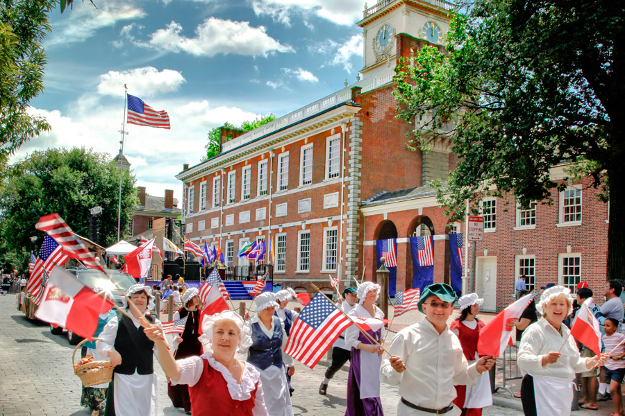 Celebration of Freedom and Independence Day Parade in Historic Philadelphia