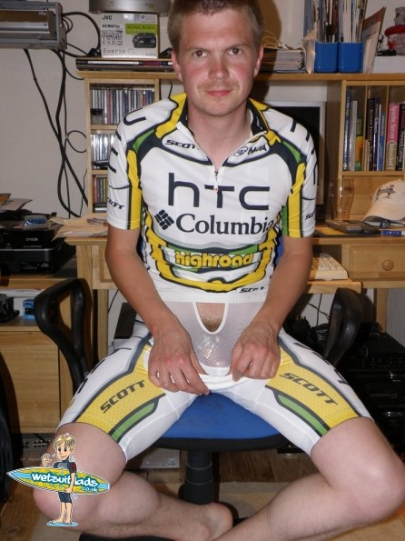 Cyclist locked in chastity cage