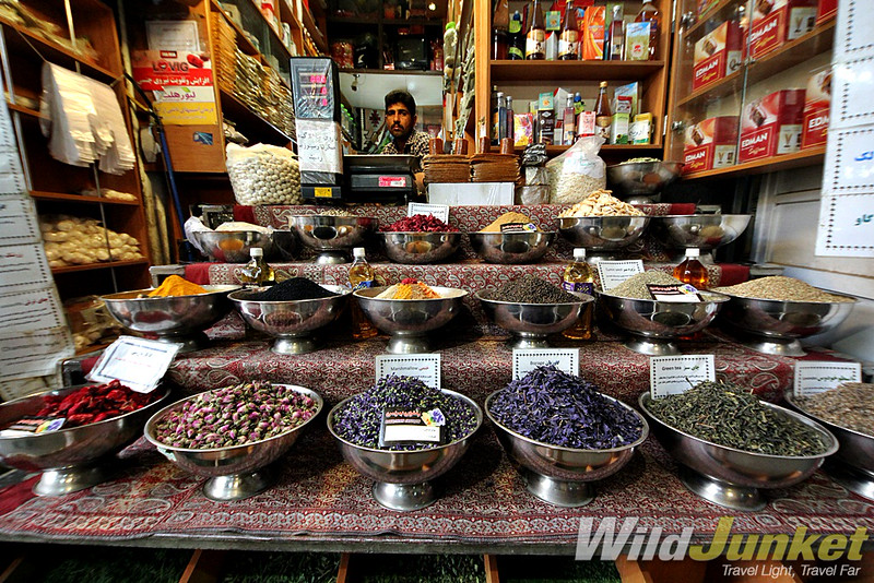Colorful spices in the bazaar of Shiraz