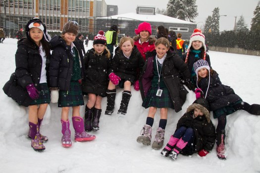 Jr. School students play in the snow at lunch