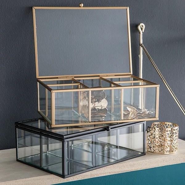 boite bijoux vitrine decorative en verre et metal dore 20x14x7cm