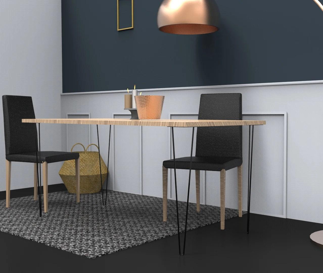 Pied De Table Filaire Epingle Noir H71cm Pas Cher Achat En Ligne Zodio