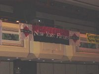 the flyer banner, hanging high and proud, at nyrr's club night