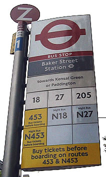 Bus stop signage at Baker Street station - image courtesy of KL Commuter.