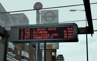 GPS Monitoring at bus stops in London. Image courtesy of KLCommuter