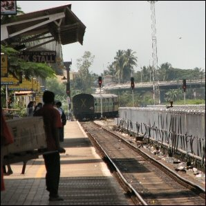 Train to Delhi leaving Margao station in Goa