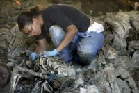 British forensic expert Sharna Daley unearths remains during an exhumation of eight mass graves found in the village of Kamenica, at the outskirts of the eastern Bosnian town of Zvornik, July 6, 2006. Forensic experts have so far unearthed the remains of 33 complete and 235 incomplete bodies of the victims of the 1995 Srebrenica massacre of about 8,000 Bosniaks (Bosnian Muslims) by the Bosnian Serb forces. REUTERS/ Danilo Krstanovic (BOSNIA AND HERZEGOVINA)