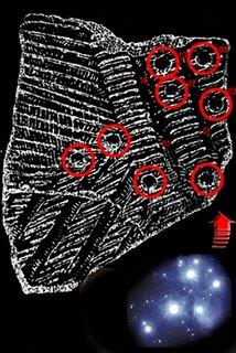 Ce e aici? Ciobul dacic publicat de Julius Teutsch, cu Pleiadele strict reprezentate, astronomic corect, apoi chiar cu altitudini şi azimut în funcţie de data din calendarul lunar