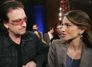 Bono y la Reina Rania de Jordania