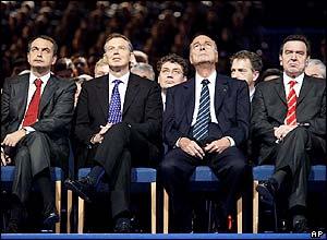 Zapatero, el Primer Ministro inglés, Tony Blair, el presidente de la República Francesa, Jacques Chicac y el ex-canciller, Gerard Sreader