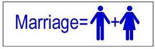 Marriage = Man + Woman