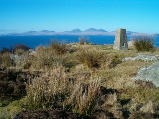 Triangulation pillar at the Point of Knap - view to the Isle of Jura