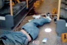Police photograph of Juan Charles de Menezes' body