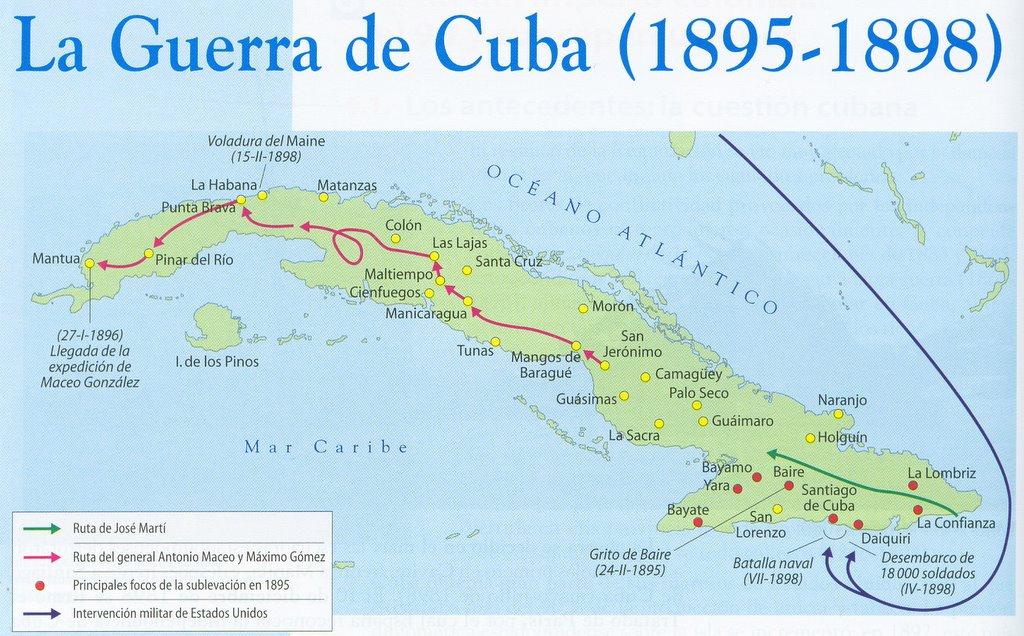 Mapa de la Guerra de Cuba