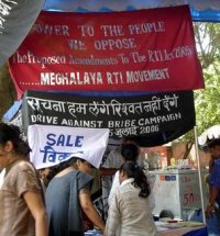 Meghalaya RTI Movement's protest banner