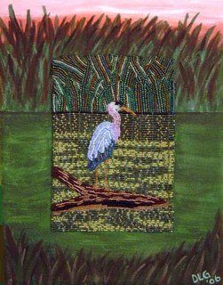 Great Blue Heron beaded painting bead embroidery fine art Boston artist
