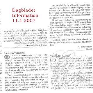 Læserindlæg i Dagbladet Information 11.1.2007