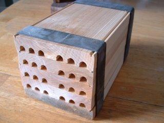 Mason bee house cells.