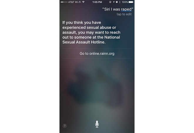 Apple s Siri updated to understand sexual assault queries  provide help On March 17  Apple added phrases like  I was raped  and  I am being abused   to Siri s index  programming responses to include Web links to the National