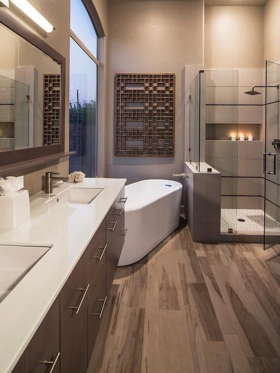 Contemporary Master Bathroom with Standard height, Master bathroom, European Cabinets, Rain shower, picture window, Shower