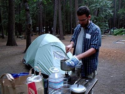 Ryan Cooking Thai Peanut Satay in Yosemite