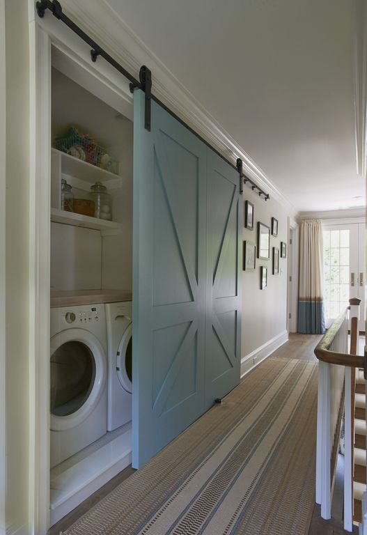 Country Laundry Room with Paint 1, specialty door, Crown molding, Paint 2, Standard height, Undermount sink, Hardwood floors
