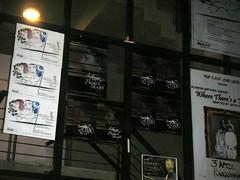 Posters on the Ranga Shankara glass wall