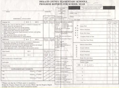 Rachel's Report Card