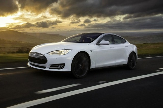 Tesla's Model S, which has some limited self-driving functions.
