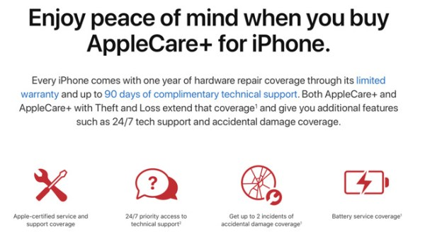 AppleCare+ for iPhone, iPad, and Apple Watch can be extended out to service life of product