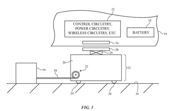 Пример иллюстрации проводного робота и пластины беспроводной зарядки под транспортным средством