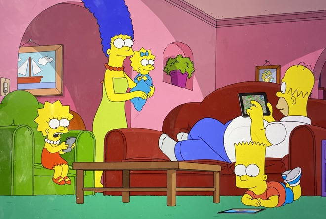 Homer playing The Simpsons Tapped Out on his tablet and the rest of the family using their devices