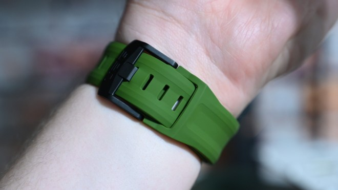 Stainless steel buckle and tuck on the UAG Scout band