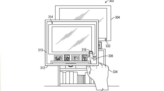 Detail from the patent showing a user tapping a virtual button in order to control a real-world device