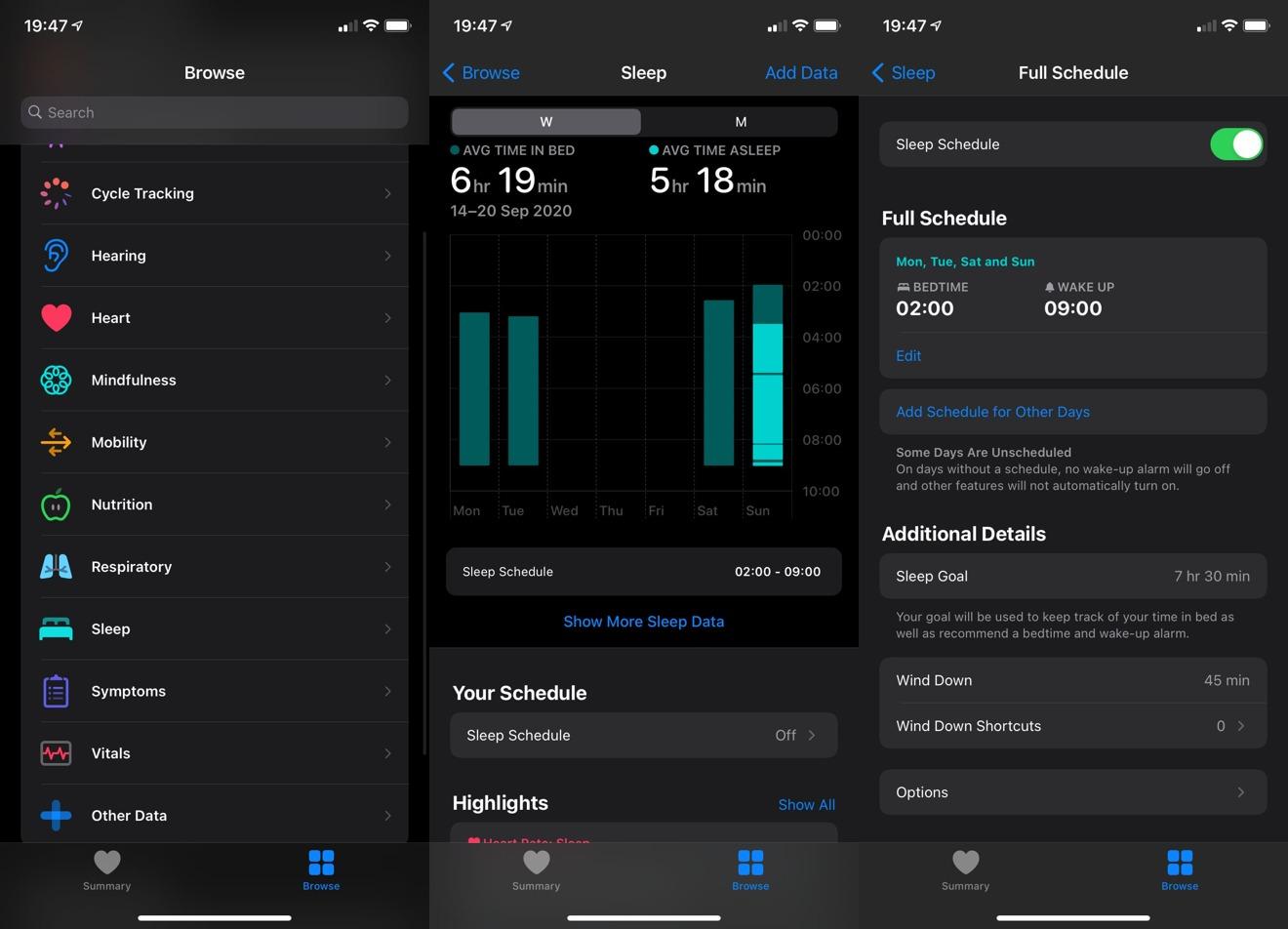 Tương đối đơn giản để bật Lịch trình ngủ trong ứng dụng Sức khỏe trên iOS 14