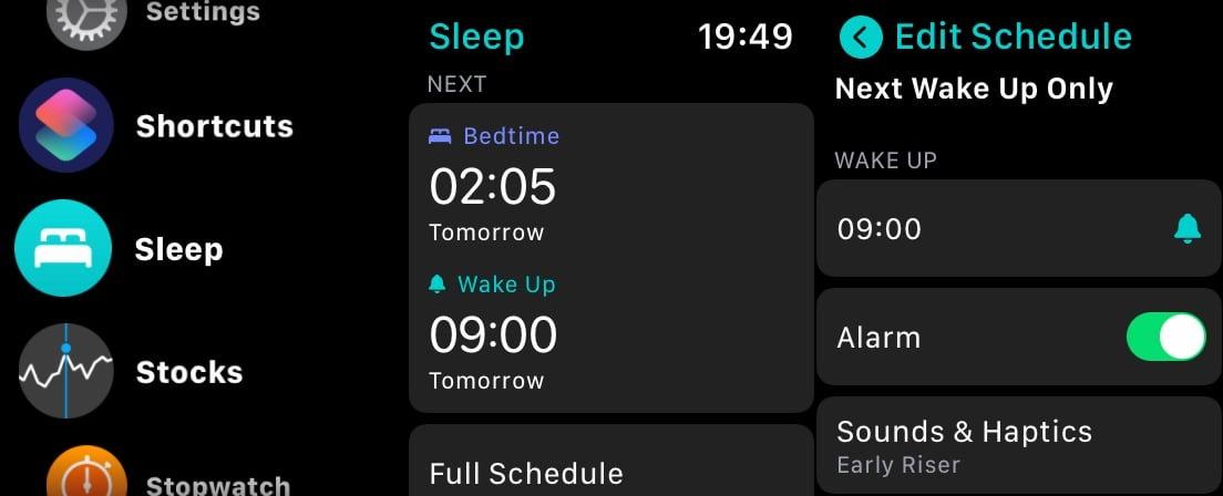 Việc thiết lập lịch trình trong chế độ Ngủ trên Apple Watch cũng khá dễ thực hiện.
