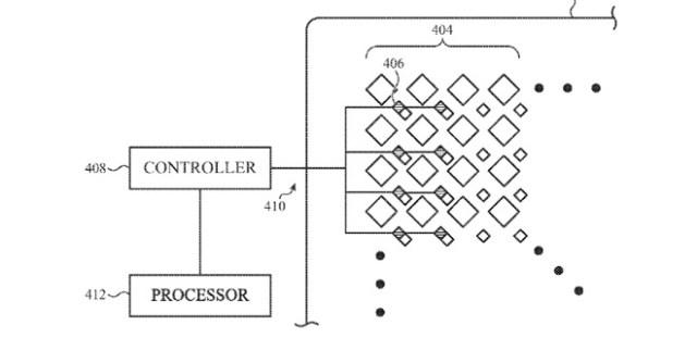 Detalle de la patente que muestra cómo se pueden incrustar sensores de luz entre los píxeles de una pantalla