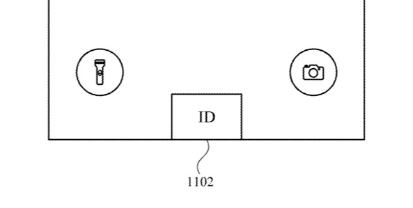 Detail from the patent showing one suggested position for an iPhone ID button