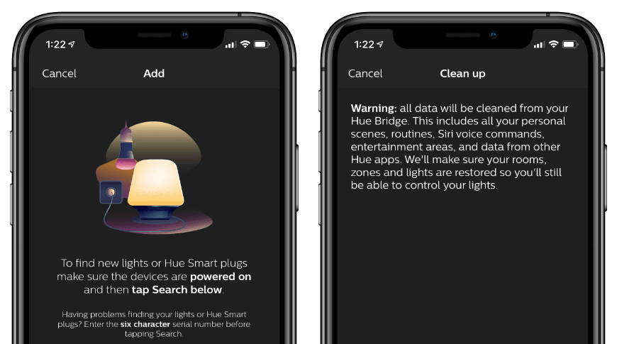 The Philips Hue app does not offer much help when troubleshooting issues
