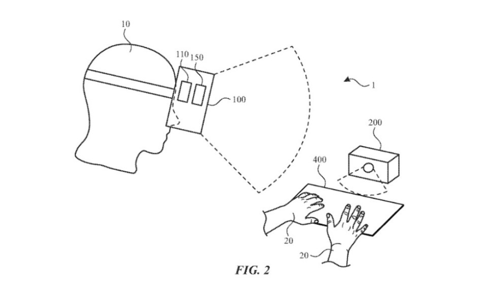 Along with a tracking device, an AR headset could allow for use of any surface as a virtual keyboard. Credit: Apple