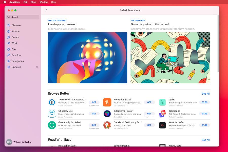 Choosing the Safari menu and then Safari Extensions opens up the Mac App Store