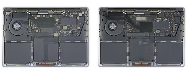 Il MacBook Pro basato su Intel (a sinistra) contro il MacBook Pro M1 (a destra).  Credito: iFixit