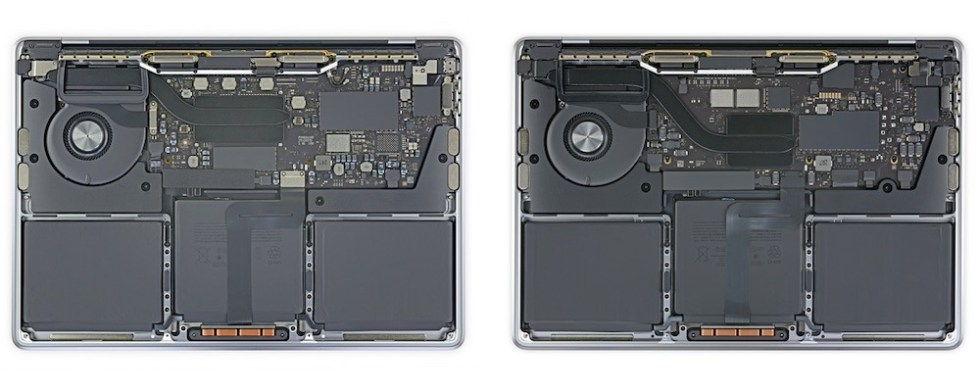 The Intel-based MacBook Pro (left) versus the M1 MacBook Pro (right). Credit: iFixit